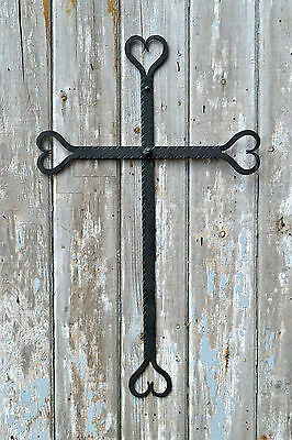 Large handmade wrought iron heart ended cross crucifix holy cross