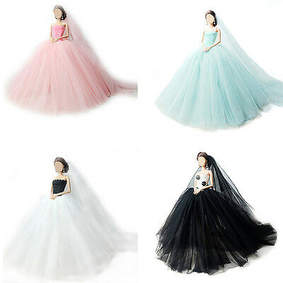 Handmade Elegant Doll Wedding Dress Evening Party Gown Clothes For Barbie Doll