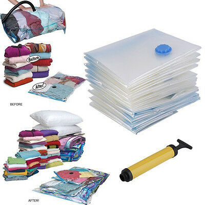 Travel Vacuum Compression Storage Space Saving Seal Plastic Bag Air Pump Manual