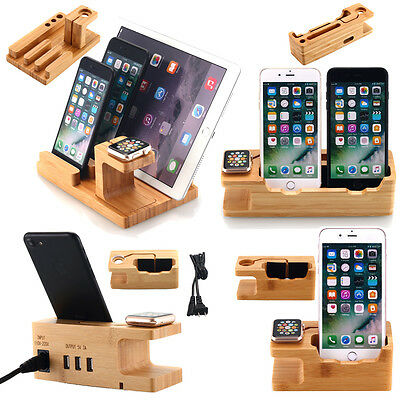 Bamboo Charging Dock Charger Station Holder Stand For Apple iPhone iWatch iPads