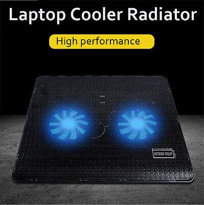 2 Fan Notebook Cooling Pad Computer Stand Laptop Cooler Super Silent With USB