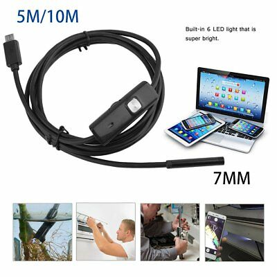 Endoscope 7mm 6LED Snake Inspection Camera Lens IP67 for Mobile Phone  Laptop 5M
