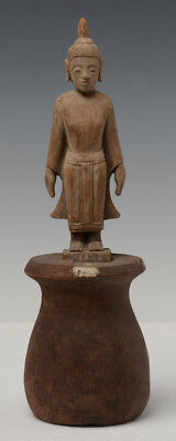19th Century, Antique Laos Wooden Standing Buddha