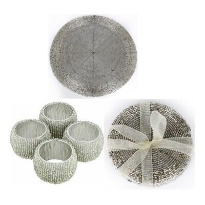 Silver Beaded Coasters Or Placemats Wedding Dinner Table Setting