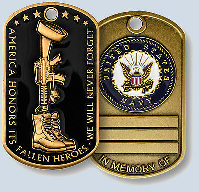 Fallen Heroes Navy Dog Tag In Memory of Coin USN