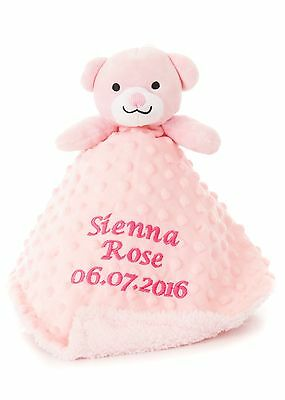 Baby Pink Girl's Teddy Comforter Toy Personalised Embroidered Gift Blankie toy