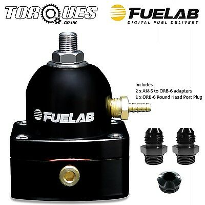 Fuelab Mini EFi Three Port Fuel Pressure Regulator AN-6 Black - 53501-1