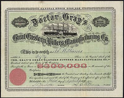 Doctor Gray's Great Eastern Bitters Manufacturing Co., $10 shares, 1880