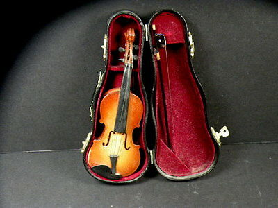 Vintage Excellent 3Pc Wooden Miniature Violin With Bow And Case