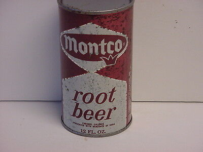 Vintage Montco Root Beer Straight Steel Flat Top Opened Soda Can