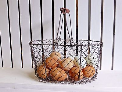 country chic wire egg basket storage holder 2 handles multi uses large size