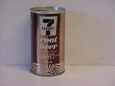 Vintage 7-Eleven Root Beer Straight Steel Pull Tab Top Opened Soda Can