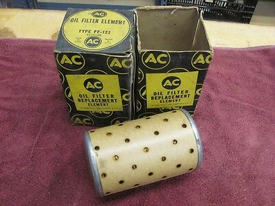 NOS AC PF-122 Oil Filter Elements 49-58 Oldsmobile Olds Chevy Truck PAIR 5572128