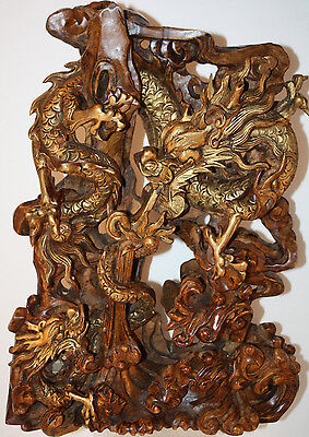 Chinese Wood Carving, Carved Gilt Dragons Spiraling among Foliage