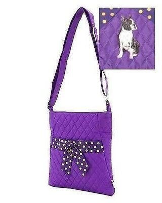 Q purse BOSTON TERRIER SITTING Quilted PURPLE Microfiber Fabric Hipster Purse