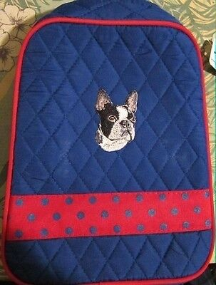 Q lunch BOSTON TERRIER Quilted BLUE/RED Insulated Fabric Lunch Sack Tote Bag