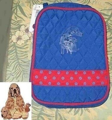 Q lunch COCKER SPANIEL Quilted BLUE/RED Insulated Fabric Lunch Sack Tote Bag