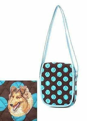Q small purse COLLIE Blue Dot Quilted Fabric Tablet Shoulder Bag