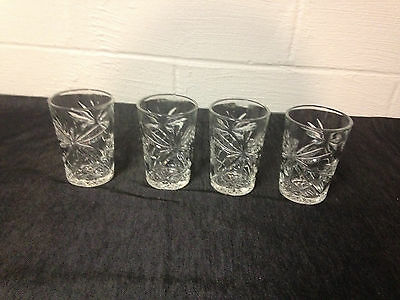 4 Vintage Star Of David 4 1/2 Inch Eapc Glasses Tumblers