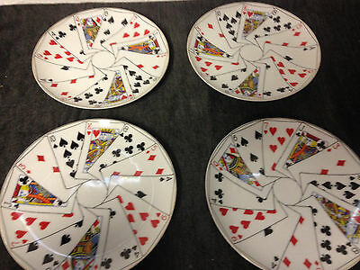 4 Vintage Horchow Made In Japan Playing Card Lunch Plates