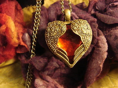 ~Gorgeous Red Angel Wing Heart Amulet & Spell Scroll~Attract Love~