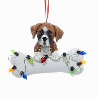DogBone BOXER w/Dog Bone & Lights Resin Christmas Ornament