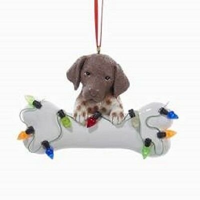 DogBone GERMAN SHORTHAIR w/Dog Bone & Lights Resin Christmas Ornament