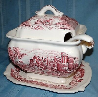 Vtg Trimont Ware Red/White Soup Tureen 4 Pc Set Transferware Japan Ironstone