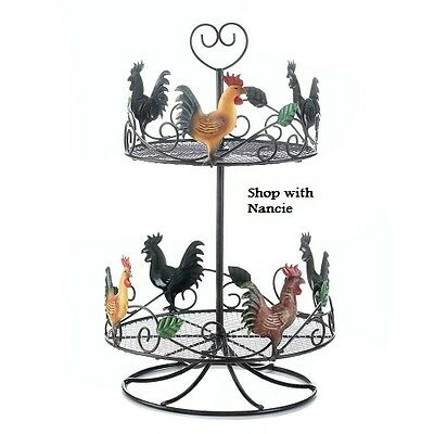Rooster Rack Circular Kitchen Home Decor Country Bird 2 level