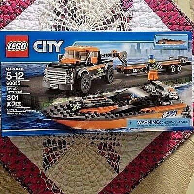 New Lego City 4x4 with Powerboat 60085 Factory Sealed   301 Pieces