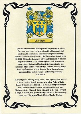 Heraldry Coat Of Arms & Surname Origin A4 Print ~ Most British Names Available