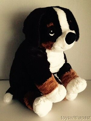 "Ikea Hoppig BERNESE MOUNTAIN Puppy Dog 13"" Plush Sewn Eyes Squishy Stuffed Toy"