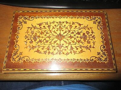 """Made in Italy Inlaid? Wood Box Hinged Lid 10"""" x 6 1/2"""" Dresser Trinket Jewelry"""
