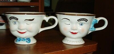 2 Bailey's Coffee Mug Tea Cup 1996 Yum Winking Face Boy & Girl Limited Edition