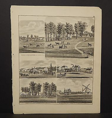 Illinois Du Page County Map  Cheese Factory Residence Engravings 1874 K14#14