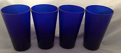 "Libbey Cobalt Blue Flare Cooler Glasses Set of 4 Tumblers 5 7/8"" Rock Sharpe FS"