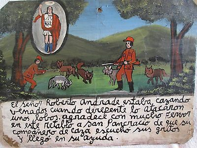 EXVOTO EX VOTO RETABLO Attacked by wolves while hunting