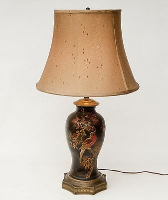 Vintage 1930's Chinese Embossed Hand Painted Ceramic Table Lamp w/Brass base