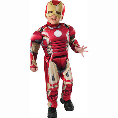 Marvel Avengers IRON MAN Muscle Chest Jumpsuit Toddler Boys Child Costume 2-4