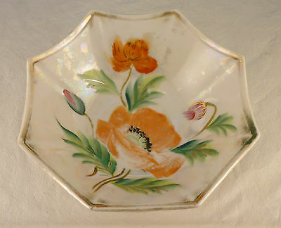 "Handpainted Poppy Early 1900'S Luster 7 1/4"" X 2 1/4"" Octagon 8 Sided Bowl Japan"