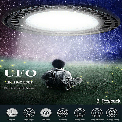 3x100W LED UFO Warehouse Commercial Industrial High Bay Light 12000LM 110V IP54