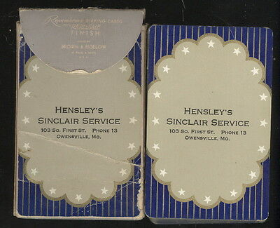 Complete Used Playing Cards Deck, Hensley's Sinclair Service, Owensville, Mo.