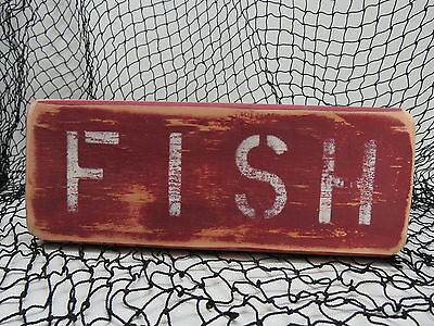 9 Inch Wood Hand Painted Fish Sign Nautical Seafood (#s775)