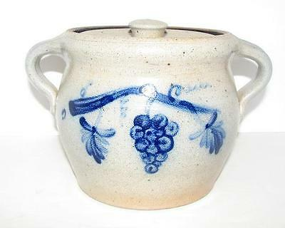 Limited Production 1987 Rowe Pottery Cobalt Bean Pot/grape Motif