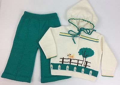 Vintage 1970s 80s Little Angel Original Knit Outfit with Cat on Fence Size 12M?