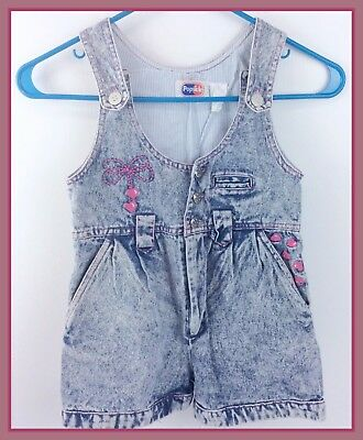 Retro 1980s Girls Vintage Popsicle Brand Stone Wash Shorts Outfit Size Small (6)