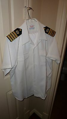 Vintage U.s.navy Captain Thomas Howell Summer White Uniform With Rank
