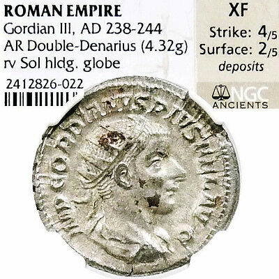 GORDIAN III NGC Certified XF SOL Ancient Roman Empire Silver Antoninianus Coin