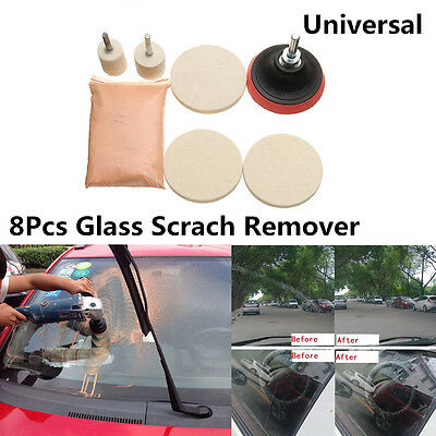 8Pcs Car Windshield Glass Scrach Remover &8 OZ Cerium Oxide Powder Polishing Kit