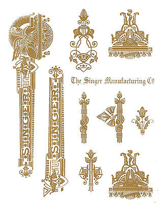 Singer Model 27 127 Sphinx Style Sewing Machine Restoration Decals Gold Metallic